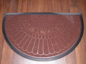 NON SLIP DOORMATS 45X75CM RUBBER BACK GOOD QUALITY ALL COLOURS HALF MOON  COFFEE